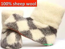 Men's Shoes Boots Natural Sheep Wool Sheepskin Slipper Boots Warm Cozy Foot New