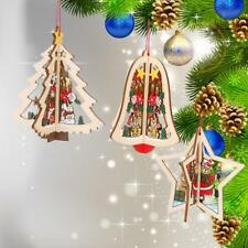 1Pcs 3D Wooden Christmas Xmas Tree Hanging Home Party Ornaments Wall Door Decor