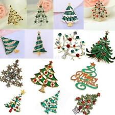 Sparkling Crystal Rhinestone Christmas Tree Brooch Lapel Pin Jewelry Unisex
