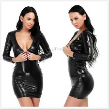 Sexy Women Lady Faux Leather Bodycon Clubwear Party Cocktail Cocktail Club Dress
