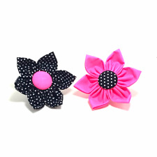NEON HOT PINK Dog Collar Flower Polka Dot Flower for Cat or Dog Collar Accessory