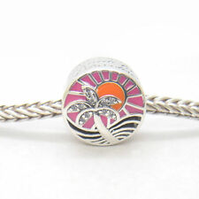 New Genuine S925 Sterling Silver Tropical Sunset, Mixed Enamel Silver Charm Bead