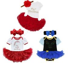 My First Christmas Infant Baby Girl Santa Romper Sequined Tutu Dress Outfit Set