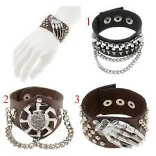 Gothic Punk Rivet Wolf Head Gripper Leather Band Bracelet Bangle Wristband