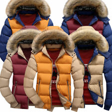 Mens Winter Warm Cotton Padded Down Coat Puffer Thick Outerwear Parka Jacket