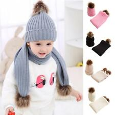 Baby Boy Girls Winter Warm Pom Bobble Ski Hat Knit Crochet Beanie Cap Scarf Set