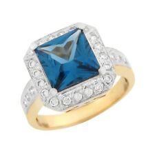 10k or 14k Two Tone Gold Square Simulated Blue Zircon White CZ Fancy Ladies Ring