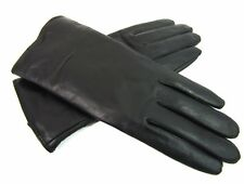 Ladies Womens Super Soft Genuine Black Leather Gloves Fully Lined Winter Driving