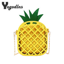 Women Cute Handbag Lovely Pineapple Bag with Chain Hollow Out Mini Fruit Handbag