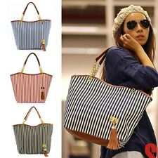 Womens Canvas Stripes Handbags Girls Tote Satchel Beach Shoulder Shopping Bags I