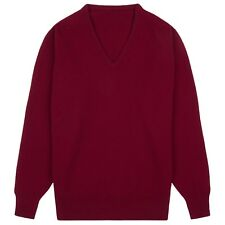 Community Clothing Men's Claret Wool V-Neck Jumper