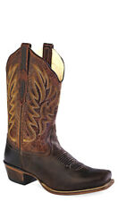 Old West Dark Brown Womens Leather 11in Square Toe Cowboy Western Boots