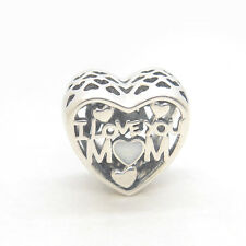 """S925 Sterling Silver Love for Mother """"I LOVE YOU MOM"""" Silver Enamel CHARM BEAD"""