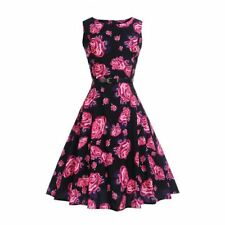 Women Fashion Wear Floral Printed Sashes Decorated Sleeveless a-line Dress