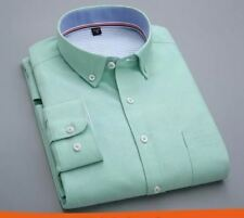 Men Green Color Summer Full Sleeved Down Collar Slim Fit Casual Formal Shirt
