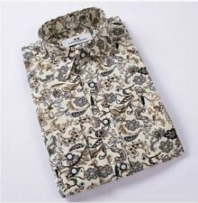 Turn-down Collar Floral Printed Fashion Casual Slim Fit Men Shirt Size (M-4XL)
