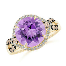 4 ctw Round Amethyst Brown Diamond Cocktail Ring 14k Yellow Gold