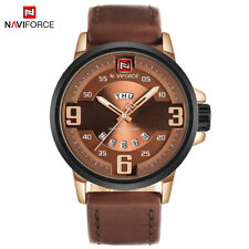 NAVIFORCE Men Sports Watches Men's Quartz Date Leather Army Military Wrist Watch