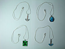 "Minecraft Creeper Iron Diamond Pickaxe Diamond Silver Plated Necklace 20"" inches"