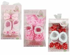 Baby Girls Beautiful Socks And Headbands Set In Gift Box 0-12 Months