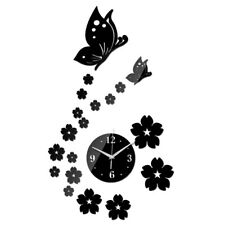Mirror Wall Stickers 3d Acrylic Home Decor Poster Butterfly Horse Wall Clock