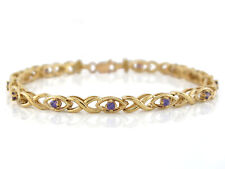 10k or 14k Yellow Gold Ladies Real Amethyst Accented Modern X Style Bracelet