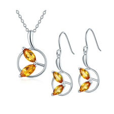 Natural Golden Citrine 925 Sterling Silver Leaf Jewelry Sets Pendant Earrings