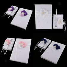 White Satin Flower Wedding Guest Book Pen with Holder Set Party Decorations
