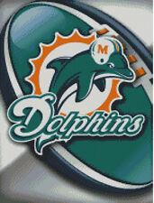 Cross stitch chart, Pattern, Miami, Dolphins, NFL, US, American, Football.