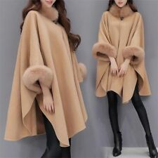 Fox Fur Collar Coat Burrs Fabric Coat Cloak Women Poncho Shawl Elegant