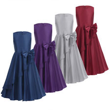 Flower Girl Satin Princess Dress Kid Party Pageant Wedding Bridesmaid Tutu Dress