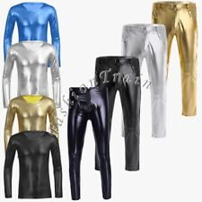 Sexy Men Faux Leather Tight Pants V-neck T-shirt Long Sleeve Slim Shirt Clubwear