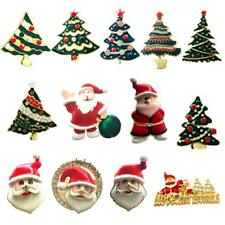 Christmas Tree Santa Claus Enamel Color Brooch Pin 2 in 1 Pendant & Pin Jewelry