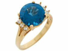 10k or 14k Gold Simulated Blue Zircon White CZ Ladies Traditional Style Ring