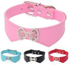Bling Rhinestone Dog Collars PU Leather Cute Bow Pet Puppy Collars Poodles S M