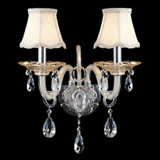 2-Light Cream Shade Clear Crystal Wall Light Wall Sconce Bedroom Lamp Fixture