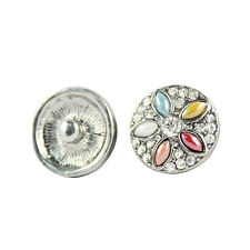 2016 New Arrival Rhinestone Flower Buttons Alloy Snaps Jewellery Buttons 18mm