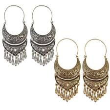 Bohemian Ethnic Tribal Carved Beads Dangle Hoop Statement Earrings