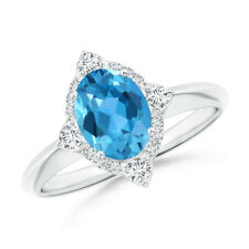 Oval Swiss Blue Topaz Diamond Halo Ring with 14k White Gold/ Silver Size 3-13
