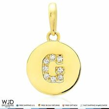 """14k Yellow Gold 0.20Ct Simulated Diamond Initial Letter """"G"""" Tag Charm Pendant"""