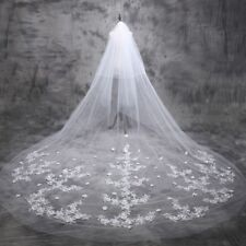 3M 2T Cathedral Bridal Veils White/Ivory Lace Edge Wedding Veil + Comb H11104