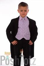 Boys suits 5pc Black & Lilac Tails Suit Formal Wedding Pageboy suits prom