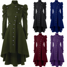 Lady Women Vintage Long Coat Jacket Single Breasted Puff Shoulder Dip Hem Trench