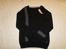 DKNY JEANS SWEATER MENS SIZE L V-NECK BLACK COLOR LONG SLEEVES NEW NWT