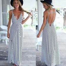 Women Sleeveless V Neck Spaghetti Strap Striped Long Maxi Dress Summer