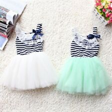 Summer Baby Girl Cotton Sleeveless Lace Bow-knot Striped Tutu Dress 2-6y