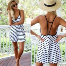 Casual Loose Stripe Sleeveless Spaghetti Strap Dress Party Mini Dress