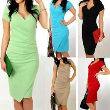 Women Summer Short Sleeve V Neck Candy Color Knee Length Slim Dress Plus Size