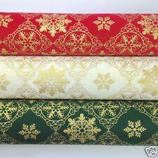 Gold snowflakes Christmas fabric 100 % cotton per 1/2 mtr or FQ red green ivory