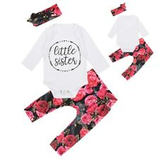Newborn Baby Girls Toddler Clothes Romper Tops Floral Pants Outfits Headband